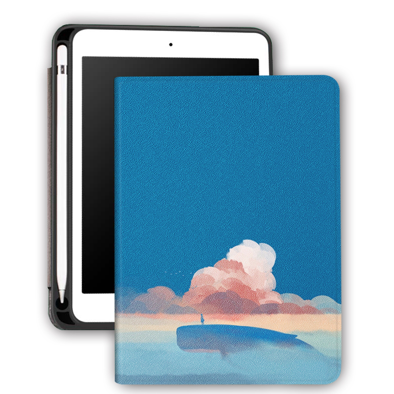 OEM ODM Leather Silicone Printed Pencil Holder Book Case for Apple iPad 9.7 5th 6th Generation.